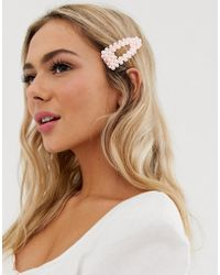 Pieces - Large Pearl Hair Clip In Pink - Lyst