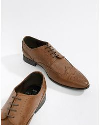 New Look - Faux Leather Brogue Shoes In Tan - Lyst