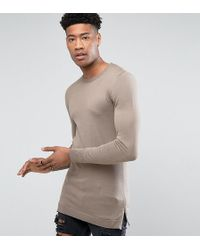 ASOS - Tall Muscle Fit Longline Jumper With Side Zips In Oatmeal - Lyst