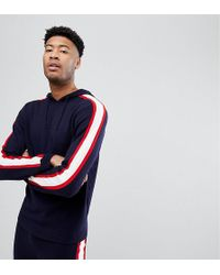 ASOS - Tall Knitted Co-ord Hoodie With Side Stripe In Navy - Lyst