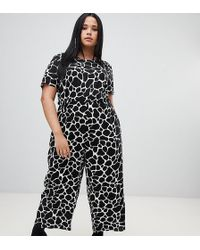 b2cad98b33a ASOS - Asos Design Curve Jumpsuit With Short Sleeve In Mono Animal Print -  Lyst