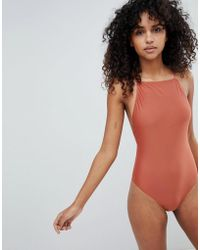 Weekday   High Leg Swimsuit With Cross Back   Lyst