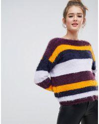 ONLY - Fluffy Multicoloured Stripe Jumper - Lyst