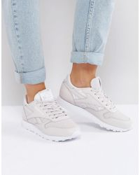 3fc50df9e47f Reebok Classic Nylon Trainers In White And Grey in White - Lyst