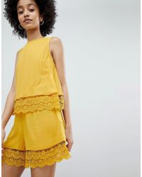 Miss Selfridge - Playsuit With Double Crochet Layer In Ochre - Lyst