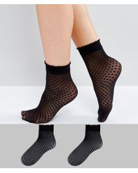 New Look - 2 Pack Spotty Sheer Ankle Sock - Lyst