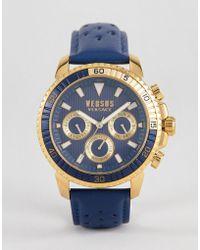 Versus - S3002 Aberdeen Leather Watch In Navy - Lyst