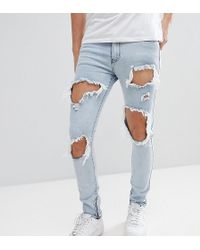 Liquor N Poker - Skinny Jeans With Extreme Rips And Ankle Zips - Lyst