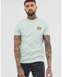 7b12e489 Ellesse T-shirt With Small Retro Logo Ribbed Sleeves in White for ...