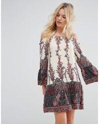 Madam Rage - Cold Shoulder Printed Dress - Lyst