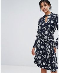 Just Female   Cut-out Neck Flared Dress   Lyst