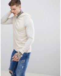 ASOS - Hoodie With Contrast Nep Raglan Sleeves In Beige - Lyst