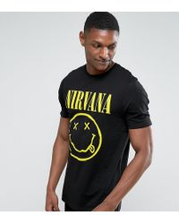 ASOS - Design Tall Nirvana Longline Band T-shirt With Face Print - Lyst