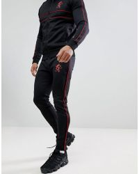 Gym King - Skinny Red Piping Joggers In Black - Lyst