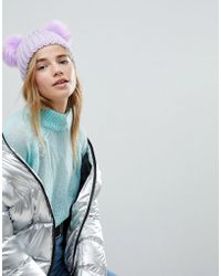 Miss Selfridge - Exclusive Pom Pom Cable Beanie - Lyst
