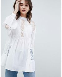 ASOS - Design Longline Smock Blouse With Lace Insert - Lyst
