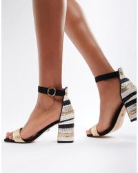 River Island - Multi Stripe Mid Heel Sandals - Lyst