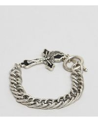 Reclaimed (vintage) - Chunky Bracelet In Burnished Silver With Cross And St Christopher Coin - Lyst