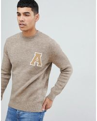 New Look - Collegiate Jumper With Crew Neck In Stone - Lyst