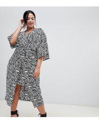 ASOS - Asos Design Curve Kimono Dress In Midi Length In Zebra Print - Lyst