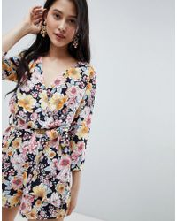Oh My Love - Wrap Front 3/4 Sleeve Playsuit In Floral Print - Lyst