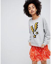 Soaked In Luxury - Lightening Embroidered Sweatshirt - Lyst