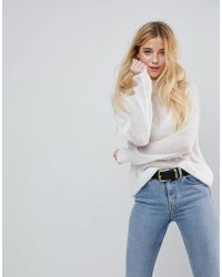 ASOS - Jumper In Sheer Knit With Funnel Neck - Lyst