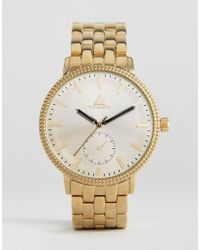 ASOS - Gold Plated Bracelet Watch With Embossed Besel And Subdial - Lyst