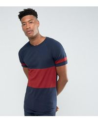 ASOS - Tall Longline Muscle T-shirt With Colour Block Panelling And Curve Hem In Navy - Lyst