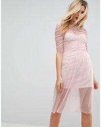 ASOS - Asos Ruched Midi Dress In Spot Mesh - Lyst