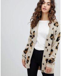 Daisy Street - Boyfriend Cardigan In Leopard - Lyst