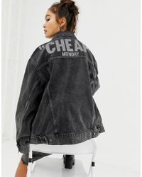 Cheap Monday - Reflective Logo Denim Jacket With Recycled Polyester & Organic Cotton - Lyst