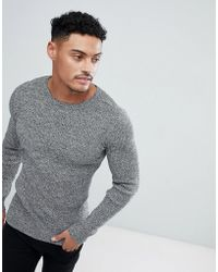 8b569e67 ASOS Muscle Fit Cotton Crew Neck Sweater in Gray for Men - Lyst