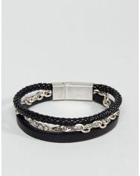 Steve Madden - Aged Leather Bracelet - Lyst