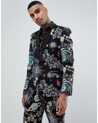 ASOS - Skinny Tuxedo Prom Suit Jacket In Space Embroidery With Removable Sequin Parrot - Lyst