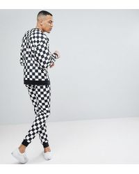 ASOS - Tall Tracksuit In Checkerboard Print - Lyst