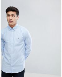 9f99483e Tommy Hilfiger - Oxford Shirt With Stretch In Slim Fit In Blue - Lyst