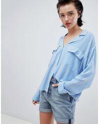 Weekday - Stripe Pocket Shirt In Shadow Stripe - Lyst