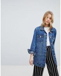 New Look - Longline Denim Jacket - Lyst