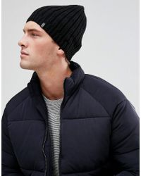Esprit - Ribbed Beanie In Black - Lyst