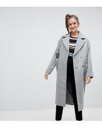 Monki - Longline Recycled Wool Blend Coat In Gray - Lyst