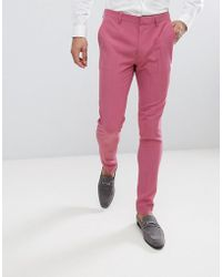 ASOS - Super Skinny Smart Trousers In Rose Pink - Lyst