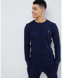 Polo Ralph Lauren - Waffle Long Sleeve Top Player Logo In Navy - Lyst