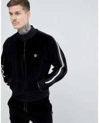 Religion - Half Zip Sweatshirt In Black Velour - Lyst