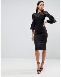 ASOS - Lace Top Fluted Sleeve Bodycon Midi Dress - Lyst