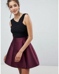 AX Paris - Cross Front Dress With Contrast Skirt - Lyst