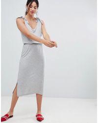 Vero Moda - Aware Tie Shoulder Jersey Midi Dress - Lyst