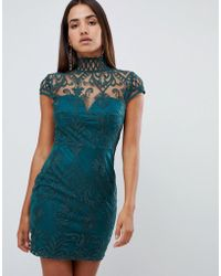 Love Triangle - All Over Cut Work Lace High Neck Mini Dress In Green - Lyst