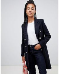 Mango - Pinstripe Button Front Tailored Coat In Black - Lyst
