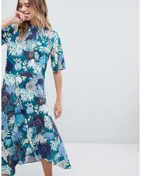 Monki - Floral Print Midi Button Up Dress - Lyst